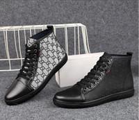 novo estilo calçado homens venda por atacado-2019 novo estilo dos homens moda bordado top fashion sneakers imprimir sapatos casuais homens lace up sapatos de microfibra calçado masculino s661