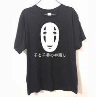 Wholesale japanese style t shirt men - Japanese Style Spirited Away Letters Print T Shirt Cotton Short Sleeve Faceless Harajuku T-Shirt Summer Fashion Tops Tees