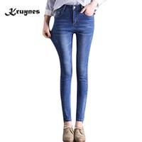 größe 26 frauen skinny jeans großhandel-2018 neue marke jeans plus größe 26-32 schwarz blau dünne jeans frau lange bleistift hose große hose für frauen jeans