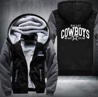 Wholesale thicken coats - 2018 Hot Fashion Dallas Winter Autumn Women Men's Hoodies Cowboys Zipper Jacket Casual Sweatshirts Thicken Coat Cashmere Hoodie