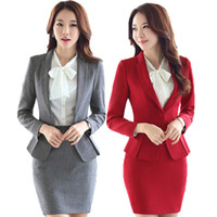 Wholesale women business skirt suits online - 2018 Autumn Office Formal Skirt Suit Full Sleeve OL Blazer Jacket Skirt Pieces Business Suits Ladies ow0372