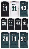 Wholesale Black Eagle Order - Womens Philadelphia Eagle jerseys #11 Carson Wentz #20 Brian Dawkins #43 Darren Sproles 91 cox White Green Black Game Jerseys Mix Order