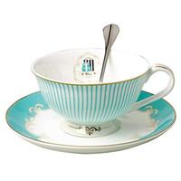 tee-set blau großhandel-Vintage Royal Bone China Tea Cups Kaffee Milch Teetasse und Untertasse und Löffel Sets Blue Boxed Set Geschenk 7-Oz