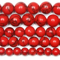 ingrosso pietre rosse cinesi-8mm Natural Stone Chinese Red Turquoises e Round Loose Beads 15