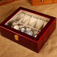 mode-displays großhandel-(Sonderpreis) 10 Slots Uhr Display Box Licht Rot MDF Uhr Veranstalter 10 Fällen Fashion Storage Geschenkbox Mit Schloss M296