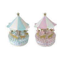 favor de la boda caja de dulces redonda al por mayor-Romántico Merry-go-round Candy Cake Box Bautizo Baby Shower Boda Pascua Hollween Primera Comunión Presente QW7500