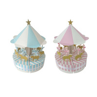 Wholesale baby christening boxes for sale - Group buy Romantic Merry go round Candy Cake Box Christening Baby Shower Baptism Wedding Easter Hollween First Communion Present QW7500