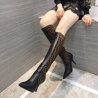Wholesale wide calf snow boots resale online - Luxury fashion women inches knitting sock boots Pointed high heel of CM F brand womens thigh high Breathable Elastic boots