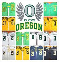 Wholesale Roses Bowl - HOT Oregon Ducks COLLEGE NCAA Royce Freeman 21 Marcus Mariota 8 Vernon Adams Jr 3 Jersey 100th Rose Bowl Football Jerseys Jersey HOT