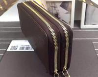 Wholesale luxury pouch bags wallet purse for sale - Luxury famous brand classic standard wallet men women long purse money bag double zipper pouch coin pocket note compartment
