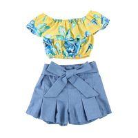 ingrosso fiocchi di fiori floreali bambini-Vieeoease Girls Sets Floral Kids Abbigliamento 2018 Summer Sleeveless Vest Lotus Leaf Collar Top + Bow Shorts in denim Outfit per bambini 2 pezzi EE-619