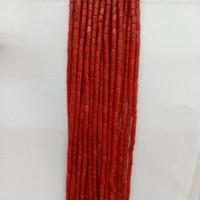 rote perlen für halskette großhandel-2x4mm Natürliche Rot / Rosa / Weiß Koralle Perlen Rohr Form Lose Korallen Für Mode Armband Halskette Schmuck Machen DIY 16 ''