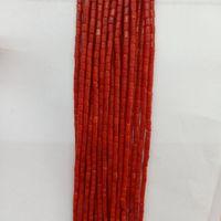 cuentas de coral blanco al por mayor-2x4mm Natural Red / Pink / White Coral Beads Tube Shape Loose Coral Beads For Fashion Pulsera Collar de La Joyería Que Hace DIY 16 ''