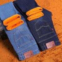 Wholesale mens fleece jeans - 2017 New Listing Warm Fleece Winter To Keep Warm Thick Jeans Darked Wash Jeans Mens Blue Black Cotton Denim