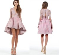 Wholesale Low V Neck Mini Dress - 2018 A Line Long Sleeves High Low Cheap Homecoming Party Dresses Lace Applique Plunging Short Mini Cocktail Prom Dresses