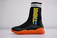 Wholesale black half socks - Perfect Quality Luxury Brand 2018SS Sock Runner Sneakers For Men Olive Green Black Knit Think High-Top Designer Boots Size 40-44