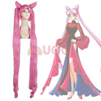Wholesale Sailor Wig - Sailor Moon Chibi Usa Black Lady 2 Ponytails Long Pink Straight Cospaly Full Wig