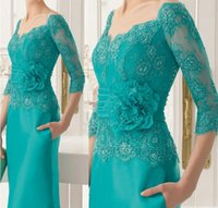 Wholesale Evening Dresses Full Skirt - Half Long Sleeves 2018 Lace Mother Of Bride Dresses Full Length Square Neckline Beading Formal Evening Gowns With Flower Belt Pocket Skirt