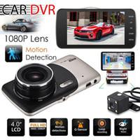 costas de movimento venda por atacado-2018 Dual Camera Lens HD Carro DVR Traço Cam Video Recorder G-Sensor de Visão Noturna 3 Anos de Garantia 24H Despacho 30-Day Money Back