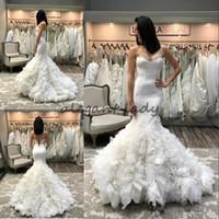 Wholesale trumpet satin sweetheart strapless wedding dresses resale online - Gorgeous Ruffled Mermaid Wedding Dresses Strapless Neck Bridal Gowns Cheap Sweep Train Trumpet Satin Wedding Dress
