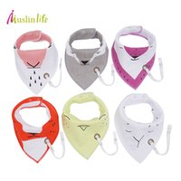 Wholesale Muslin Bibs - Muslin life New Arrival 2017 New Fashion Baby Bibs With Pacifier Hangers (3pcs lot)