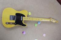 cuerdas de guitarra de calidad al por mayor-Envío gratis al por mayor de alta calidad F tele Ameican Art firma telecaster amarillo 6 cuerdas guitarra eléctrica