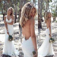 vestidos de casamento katie venda por atacado-2018 Designer Katie maio primavera verão vestidos de noiva boêmio Sexy sereia cintas de espaguete até o chão sem alças de renda vestidos de noiva BA1596