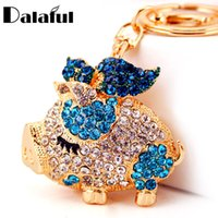 Wholesale Pig Keychains - beijia 2017 New Brand Pig Wings Crystal Rhinestone Keyrings Key Chains Holder Women Gift Bag Pendant For Car Keychains K250