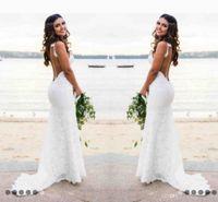 indisches hochzeitskleid plus größe großhandel-Sexy Spitze Brautkleider Country Style Count Zug Tiefem V-Ausschnitt Backless Brautkleid Hoho Günstige Handmade Mermaid Brautkleider Einfache Abnutzung