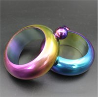 Wholesale Rainbow Cuff - 3.5oz Stainless Steel Hip Flas Jug Bracelet Band Rainbow Gold Bangle Cuffs Alcohol Whiskey Drinkware Wine Pot Bottles Drinkware Dropship