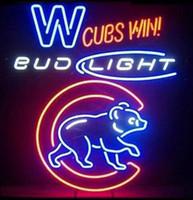 ingrosso neon luminoso di bud-32 * 24 pollici Bud Light Chicago Bears fai da te Glass Neon Sign Flex corda luce al neon Indoor / Outdoor Decorazione RGB tensione 110 V-240 V