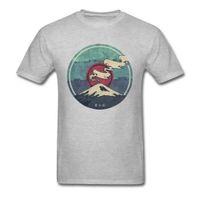 ingrosso belle immagini superiori-Monte Fuji Giappone Immagine T-shirt per uomo 100% cotone Amanti Day Tops Tees Viaggio in famiglia Tshirt Bella stampa panoramica Top