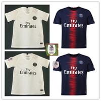 Wholesale foot patches - 2018 2019 Paris MBAPPE soccer jersey with ligue 1 patch 18 19 CAVANI PSG home away survetement maillot de foot football shirts