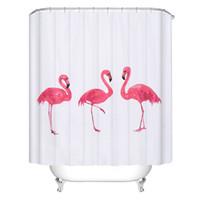 yeni perde stilleri toptan satış-Yeni Yaratıcı Avrupa Tarzı Pembe Flamingo Duş Perdeleri Su Geçirmez Banyo Perdesi Polyester Banyo Duş Perdesi 72X78 inç
