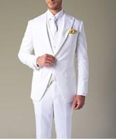 Wholesale Terno Plus Size Masculino - Costume Homme Formal Custom Smoking Terno Masculino White Jacket Men Dress Best Man Wedding Tuxedo Groomsmen Mens Wedding Suits