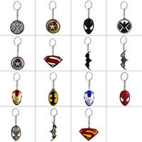 schwarze metallringe briefe groihandel-DC Marvel Comic-Serie Schlüsselbund Qualitäts-Metallschild-Maske Iron Man Schlüsselanhänger Ring