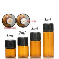 uçucu yağlar şişe kahverengi toptan satış-1 ml 2 ml 3 ml 5 ml Amber Mini Cam Şişe Duman yağ Şişesi Uçucu Yağ Ekran Flakon Küçük Serum Parfüm Kahverengi Örnek Konteyner B028