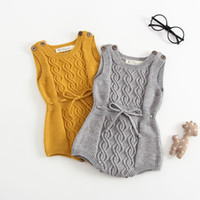Wholesale baby knit vests resale online - Newborn Baby Romper Girls Boys Knitted Wool Yellow Grey Color Twisted Overall Jumpsuit For Baby Children Clothes Vest Romper