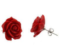 prata esterlina de coral vermelho venda por atacado-Moda Jóias 12mm Coral Red Rose Flor 925 Sterling Silver Earrings