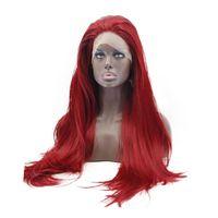 güzel uzun peruklar toptan satış-Yeni Cosplay Güzel Yüksek Sıcaklık Fiber Doğal Tam Saç Peruk Tutkalsız Uzun Düz Bordo Kırmızı Sentetik Dantel Ön Peruk Kadınlar Için