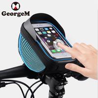 держатель телефона для горного велосипеда оптовых-Waterproof 6inch Touch Screen Phone Bags Mountain Bike Bag Front Frame Bag Cycling Phone Case Mobile Navigation Car Holder