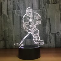 Wholesale emergency lights batteries online - Hockey Ice Ball Player D Optical Illusion Lamp Night Light DC V USB Charging AA Battery Dropshipping