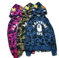 Wholesale winter camo hoodie - 2017 Cheap New winter Hoodie Men's A Bathing AAPE Ape Shark Hooded Hoodie Coat Camo Full Zip Jacket Camouflage Hoodies Hot