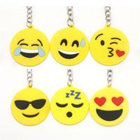 qq bebek toptan satış-Sıcak satış 2017 QQ Emoji Anahtar Zincirleri Küçük Anahtarlık Emotion Sarı QQ İfade Dolması PVC Bebek Oyuncak 6 tasarım emoji pvc anahtarlık
