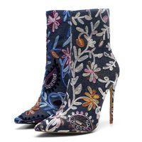 Wholesale sexy denim boots resale online - High Quality Women Fashion High Heel Shoes Superstar Luxury Designer Women Shoes Superstars Fashion Boots Sexy Women Dress Shoes Plus Size