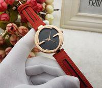 Wholesale modern style clock - Super Style Design Quartz Watch Leather Gift Items Sports Wristwatch Military Fashion Modern Waterproof watches Women Hot Sale Clock
