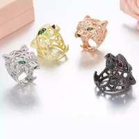 grüner augenring großhandel-ZoZiri Silber Panther Ring Für Frauen männer 925 Sterling Silber Grüne Augen Leopard finger Zirkonia Ringen Party Schmuck