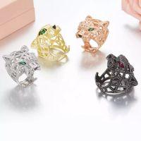 anillo de ojo verde al por mayor-ZoZiri Silver Panther Ring para mujeres hombres 925 Sterling Silver Green Eyes Leopardo dedo Cubic Zirconia Ringen joyas para fiestas