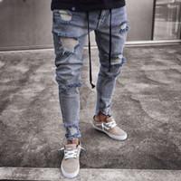 ausgefranstes denim großhandel-Mode-Männer zerrissene dünne Biker Loch Reißverschluss Jeans 2018 neue zerstörte ausgefranste Slim Fit Denim lange Hosen