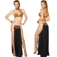 danza del vientre ropa sexy al por mayor-Diseñador de ropa de mujer Nueva Sexy Carnaval Cosplay princesa esclava traje de danza del vientre Vestido de oro sujetador y Neckchain traje de diosa egipcia